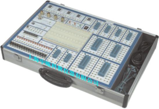 SZJNX-68B数字电路实验箱,设计豪华气派,主机提供了多种信号源;锁紧插座;台湾产面包板;正面印刷字符连线,反面按装元器件,所有信号源、频率计等电路全部由CPLD芯片和双面板构成,所有器件均选用上等优质产品,使整机的品质得到提高。由于正面没有任何元件,从而能有效的降低和避免人为损坏的可能。本机特点:使用方便,耐用,实验项目灵活,可方便完成数字模拟各类实验。本学习机适用于高等院校及各类职业技术学校的电子技术类教学实验。 SZJNX-68B型系统组成 (1)电源 :交流输入:220V±10%